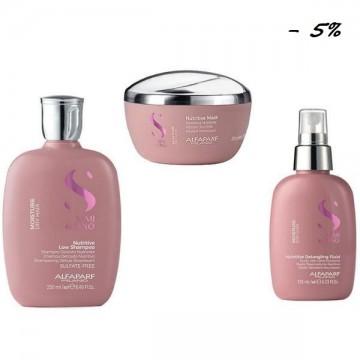 Овлажняващ пакет за суха коса - Alfaparf Milano Semi di Lino Moisture Nutritive: Овлажняващ шампоан 250 мл, Овлажняваща маска 200 мл, Овлажняващ флуид 125 мл