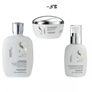 Пакет за блясък за нормална коса - Alfaparf Milano Semi di Lino Diamond Illuminating: Шампоан за блясък 250 мл, Маска 200 мл, Флуид 125 мл