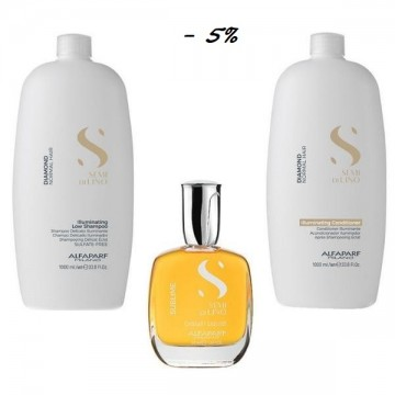 Пакет за блясък за нормална коса Alfaparf Semi di Lino Diamond Illuminating - Шампоан 1000мл, Маска 500мл, Серум 50мл